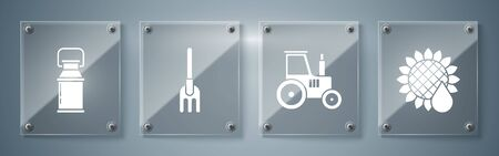Set Sunflower, Tractor, Garden rake and Can container for milk. Square glass panels. Vector