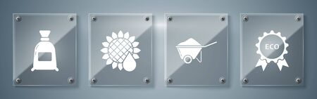 Set Banner, label, tag, logo for eco, Wheelbarrow with dirt, Sunflower and Bag of flour. Square glass panels. Vector Çizim