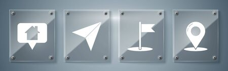 Set Map pin, Flag, Paper airplane and Map pointer with house. Square glass panels. Vector