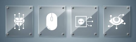 Set Virtual reality, Remote control, Computer mouse and Processor. Square glass panels. Vector Vecteurs