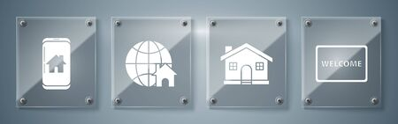 Set Doormat with the text Welcome, House, Globe with house symbol and Mobile phone with smart home. Square glass panels. Vector