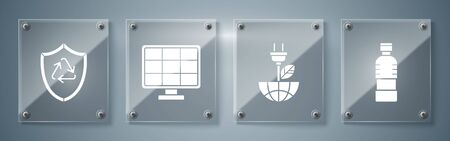 Set Bottle of water, Electric saving plug in leaf, Solar energy panel and Recycle symbol inside shield. Square glass panels. Vector