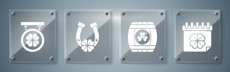 Set Saint Patricks day with calendar, Wooden barrel with four leaf clover, Horseshoe with four leaf clover and Street signboard with four leaf clover. Square glass panels. Vector