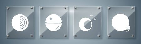 Set Planet, Moon and stars, Death star and Earth structure. Square glass panels. Vector