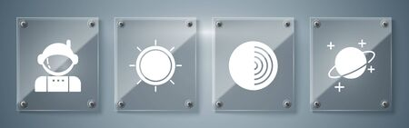 Set Planet, Earth structure, Sun and Astronaut. Square glass panels. Vector