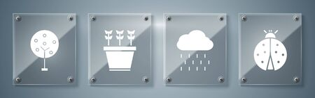 Set Ladybug, Cloud with rain, Plants in pot and Tree. Square glass panels. Vector  イラスト・ベクター素材