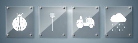 Set Cloud with rain, Tractor, Garden pitchfork and Ladybug. Square glass panels. Vector