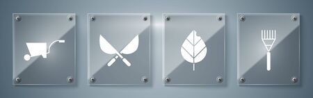 Set Garden rake, Leaf, Gardening handmade scissors and Wheelbarrow. Square glass panels. Vector Иллюстрация