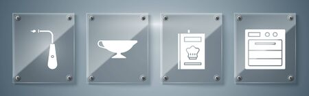 Set Oven, Cookbook, Sauce boat and Long electric lighter. Square glass panels. Vector  イラスト・ベクター素材