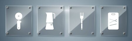 Set Cutting board, Fork, Moka pot and Pizza knife. Square glass panels. Vector
