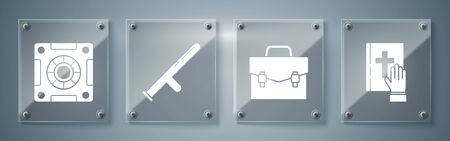 Set Oath on the Holy Bible, Briefcase, Police rubber baton and Safe. Square glass panels. Vector