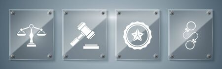 Set Handcuffs, Police badge, Judge gavel and Scales of justice. Square glass panels. Vector 向量圖像