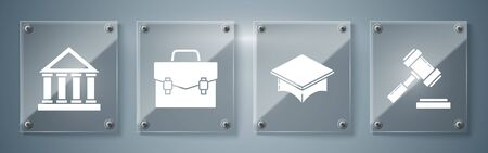 Set Judge gavel, Graduation cap, Briefcase and Courthouse building. Square glass panels. Vector 向量圖像