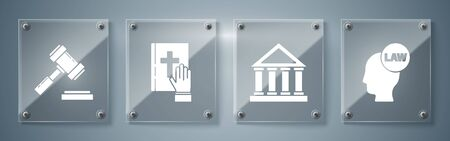 Set Head with law, Courthouse building, Oath on the Holy Bible and Judge gavel. Square glass panels. Vector 向量圖像