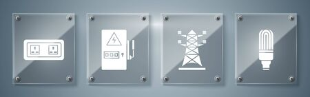 Set LED light bulb, High voltage power pole line, Electrical panel and Electrical outlet. Square glass panels. Vector
