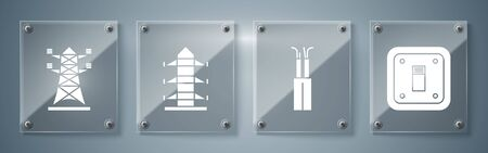 Set Electric light switch, Electric cable, High voltage power pole line and High voltage power pole line. Square glass panels. Vector