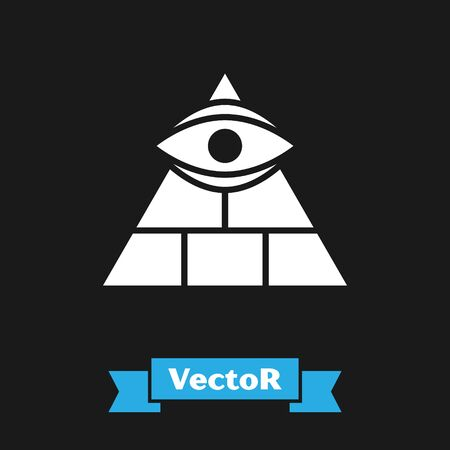 White Masons symbol All-seeing eye of God icon isolated on black background. The eye of Providence in the triangle. Vector Illustration
