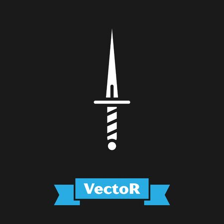White Dagger icon isolated on black background. Knife icon. Sword with sharp blade. Vector Illustration