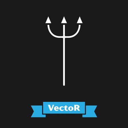 White Neptune Trident icon isolated on black background. Vector Illustration