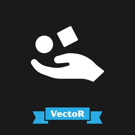 White Cube levitating above hand icon isolated on black background. Levitation symbol. Vector Illustration Vectores