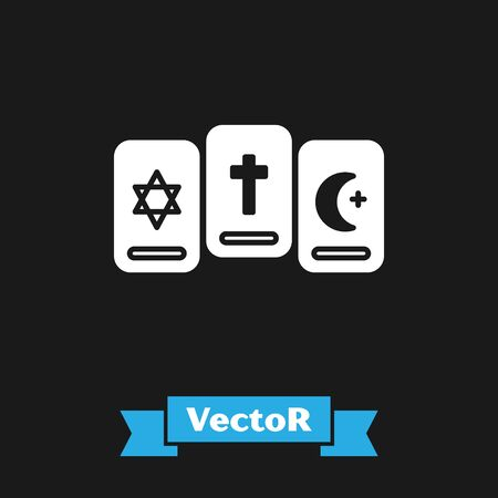 White Three tarot cards icon isolated on black background. Magic occult set of tarot cards. Vector Illustration