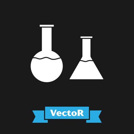 White Test tube and flask icon isolated on black background. Chemical laboratory test. Laboratory glassware. Vector Illustration Ilustração