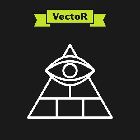 White line Masons symbol All-seeing eye of God icon isolated on black background. The eye of Providence in the triangle. Vector Illustration Illustration