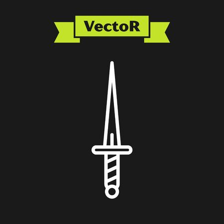 White line Dagger icon isolated on black background. Knife icon. Sword with sharp blade. Vector Illustration