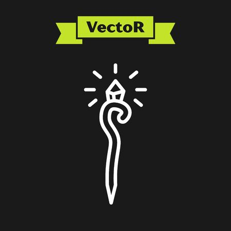 White line Magic staff icon isolated on black background. Magic wand, scepter, stick, rod. Vector Illustration