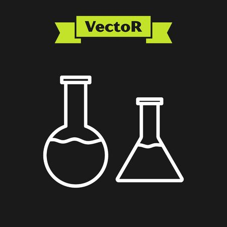 White line Test tube and flask icon isolated on black background. Chemical laboratory test. Laboratory glassware. Vector Illustration