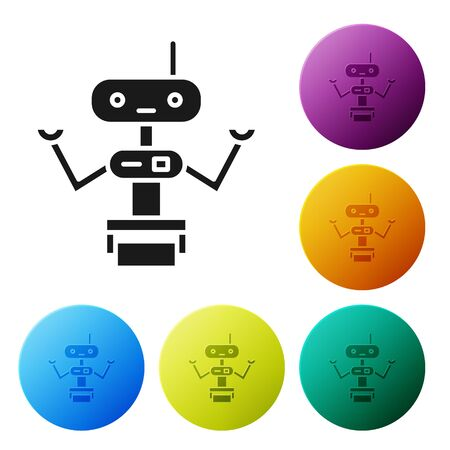 Black Robot icon isolated on white background. Set icons in color circle buttons. Vector Illustration 向量圖像