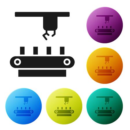 Black Factory conveyor system belt icon isolated on white background. Robot industry concept. Set icons in color circle buttons. Vector Illustration