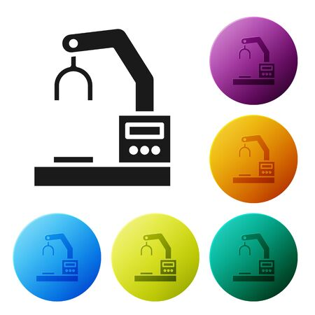 Black Industrial machine robotic robot arm hand factory icon isolated on white background. Industrial robot manipulator. Set icons in color circle buttons. Vector Illustration 向量圖像