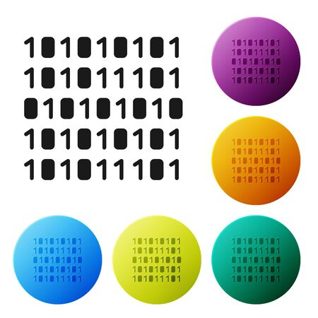 Black Binary code icon isolated on white background. Set icons in color circle buttons. Vector Illustration