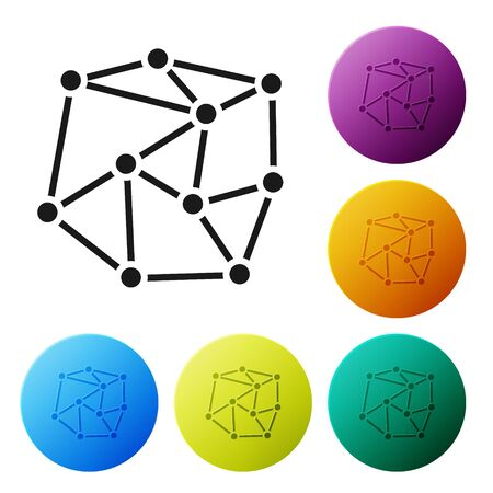 Black Neural network icon isolated on white background. Artificial Intelligence. Set icons in color circle buttons. Vector Illustration