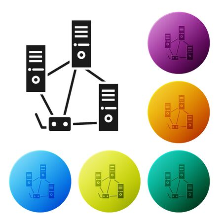 Black Computer network icon isolated on white background. Laptop network. Internet connection. Set icons in color circle buttons. Vector Illustration Illustration