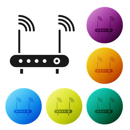 Black Router and wi-fi signal symbol icon isolated on white background. Wireless ethernet modem router. Computer technology internet. Set icons in color circle buttons. Vector Illustration