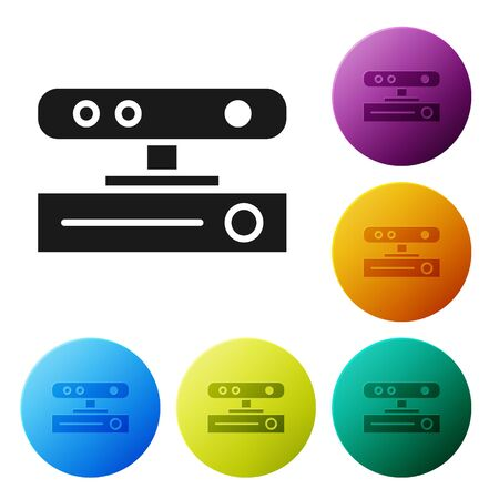 Black Motion sensor icon isolated on white background. Set icons in color circle buttons. Vector Illustration 向量圖像