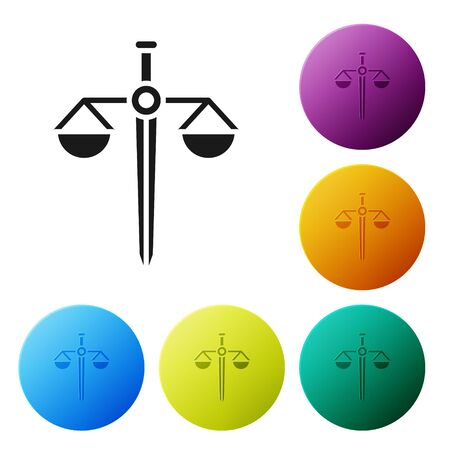 Black Scales of justice icon isolated on white background. Court of law symbol. Balance scale sign. Set icons in color circle buttons. Vector Illustration Ilustração