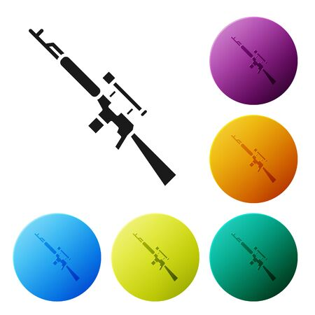 Black Sniper rifle with scope icon isolated on white background. Set icons in color circle buttons. Vector Illustration