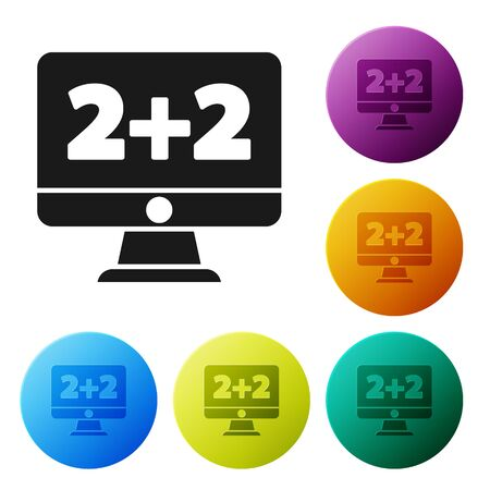 Black Math system of equation solution on computer monitor icon isolated on white background. Set icons in color circle buttons. Vector Illustration
