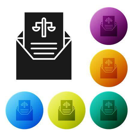Black Subpoena icon isolated on white background. The arrest warrant, police report, subpoena. Justice concept. Set icons in color circle buttons. Vector Illustration Illustration