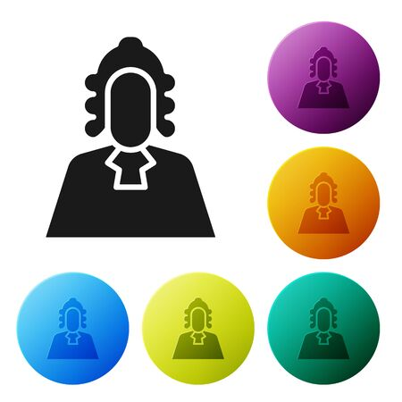 Black Judge icon isolated on white background. Set icons in color circle buttons. Vector Illustration