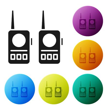 Black Walkie talkie icon isolated on white background. Portable radio transmitter icon. Radio transceiver sign. Set icons in color circle buttons. Vector Illustration