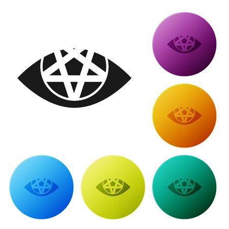 Black Pentagram icon isolated on white background. Magic occult star symbol. Set icons in color circle buttons. Vector Illustration