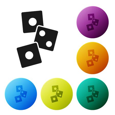 Black Game dice icon isolated on white background. Casino gambling. Set icons in color circle buttons. Vector Illustration Иллюстрация