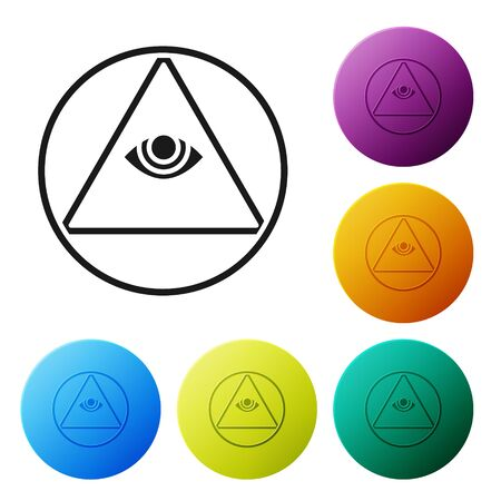 Black Masons symbol All-seeing eye of God icon isolated on white background. The eye of Providence in the triangle. Set icons in color circle buttons. Vector Illustration Illustration
