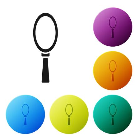 Black Magic hand mirror icon isolated on white background. Set icons in color circle buttons. Vector Illustration Ilustração