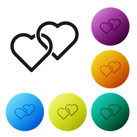 Black Two Linked Hearts icon isolated on white background. Romantic symbol linked, join, passion and wedding. Happy Women Day. Set icons in color circle buttons. Vector Illustration