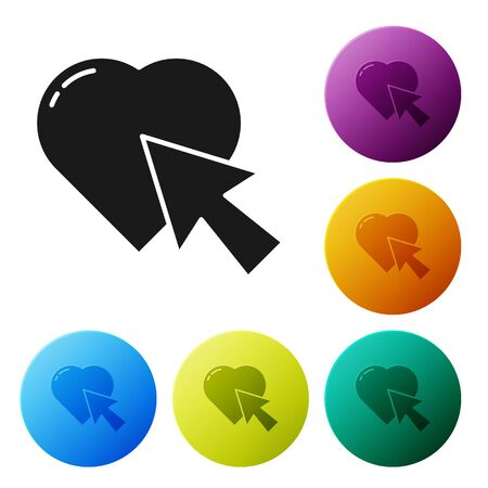 Black Heart and cursor click icon isolated on white background. Online dating. Click on like button. International Happy Women Day. Set icons in color circle buttons. Vector Illustration 向量圖像